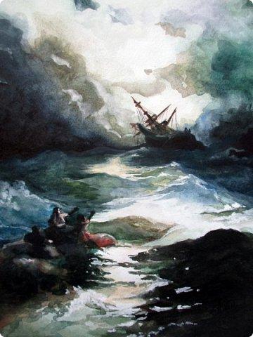"""""""Рано или поздно любой ураган, любая буря улягутся… и наступит привычное спокойствие. Ни один шторм не длится бесконечно…""""   Акварель. Формат А3.  фото 4"""
