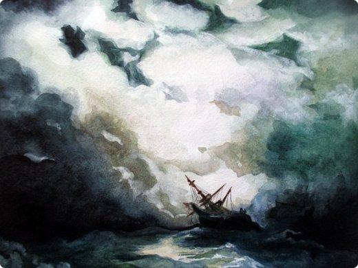 """""""Рано или поздно любой ураган, любая буря улягутся… и наступит привычное спокойствие. Ни один шторм не длится бесконечно…""""   Акварель. Формат А3.  фото 5"""