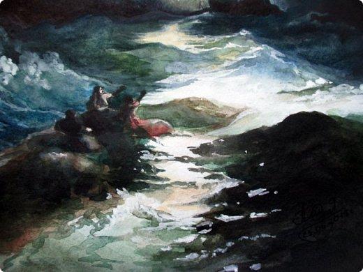 """""""Рано или поздно любой ураган, любая буря улягутся… и наступит привычное спокойствие. Ни один шторм не длится бесконечно…""""   Акварель. Формат А3.  фото 6"""