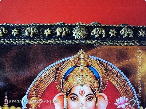 Старенькую шкатулку решила реставрировать, посвятила её индийскому божеству Ганеша. фото 5