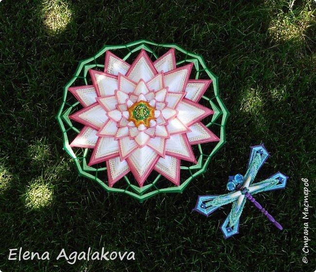 Моя новая мандала-Цветок Лотоса ( моя первая 16-лучевая мандала). После того как я сплела стрекозу захотелось сплести и лотос, очень люблю этот прекрасный цветок. фото 4