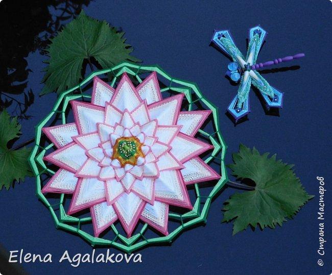 Моя новая мандала-Цветок Лотоса ( моя первая 16-лучевая мандала). После того как я сплела стрекозу захотелось сплести и лотос, очень люблю этот прекрасный цветок. фото 1