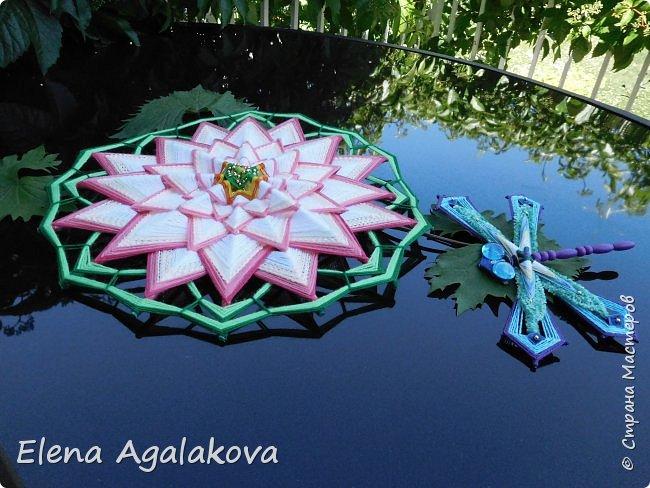 Моя новая мандала-Цветок Лотоса ( моя первая 16-лучевая мандала). После того как я сплела стрекозу захотелось сплести и лотос, очень люблю этот прекрасный цветок. фото 3