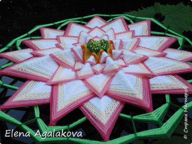Моя новая мандала-Цветок Лотоса ( моя первая 16-лучевая мандала). После того как я сплела стрекозу захотелось сплести и лотос, очень люблю этот прекрасный цветок. фото 2