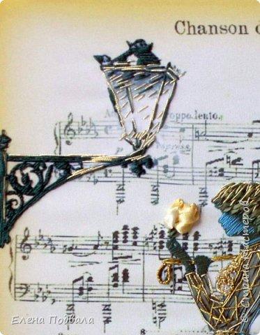 """Дорогие друзья! Доброго времени суток!!! Представляю мою новую вышивку на заказ... я ее назвала: """"Морская музыкальная Нимфа, прибывшая в Париж"""" (наверное уже от отчаяния...) Почему """"морская""""? Пожелания клиента - ЗАКОН! Заказ был """"крутой-жесть"""", практически """"пойди туда, не знаю, куда, найди то, не знаю, что..."""" Заказчице понравилась фотка моей проданной """"Романтической Повитрули"""", вышитой бисером и название в нотах """"Песня любви""""... Но захотела в 2 раза больше по размеру (А-3), да еще """"ленточками""""... И чтобы была """"зелень"""",""""бирюза"""" и... """"ЗОЛОТО""""! И много-много розочек! Да, и обязательно фоновый рисунок нот... Как вам задача? Короче - ЗА-ШИ-БИСЬ... С мужем ломали голову, нашли в инете аналогичное изображение (не для вышивки бисером), муж изменил фоновый цвет... Заказала принт и ленты... Все пришло почтой... Разложила все... И ... смотрю на эту """"красоту"""", как баран на новые ворота... Нет идей, нет вдохновения... Но... главное - начало... Взяла себя в руки и пошла фантазировать (ведь сроки поджимали...) и вдохновляться... Господи! Как было сложно! Но... потом """"вошла в раж""""... и что-то в итоге получилось! :-) Тут и """"Джульетта-девочка"""" припомнилась... и Проня Прокоповна (из к/ф """"За двумя зайцами"""") - пошла ассоциация... Ну, и конечно же, наш любимый к/ф """"Служебный роман""""... Кстати, даже """"Русалочку"""" Андерсена припомнила...(и как я в детстве рыдала над печальным концом этой сказки)... Вообщем - взрыв мозга! В итоге - клиентка довольна и на свой День рождения получила для себя """"шикарный"""" подарок! Оформление в рамку она, слава Богу, берет на себя... Обещала фоту скинуть мне уже в готовом варианте :-) Да, вообще, нормальная и красивая женщина, моя заказчица... и еще супер-музыкальная эстетка! фото 4"""