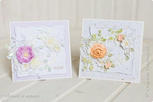 Здравствуйте!!! Лето, свадьбы, а у меня конвертики для дисков))) Вообщем, я в своём репертуаре! Один скетч - две открытки лиловая и персиковая. Какая Вам нравится больше? фото 1