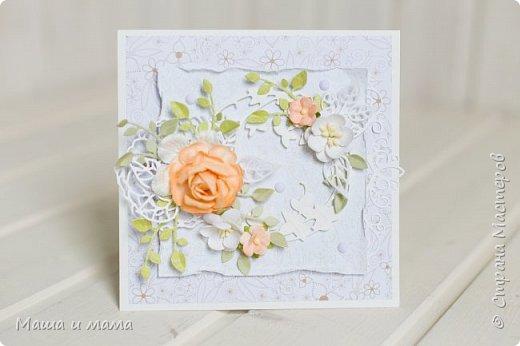 Здравствуйте!!! Лето, свадьбы, а у меня конвертики для дисков))) Вообщем, я в своём репертуаре! Один скетч - две открытки лиловая и персиковая. Какая Вам нравится больше? фото 5
