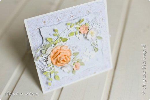 Здравствуйте!!! Лето, свадьбы, а у меня конвертики для дисков))) Вообщем, я в своём репертуаре! Один скетч - две открытки лиловая и персиковая. Какая Вам нравится больше? фото 9