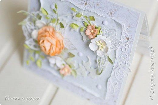 Здравствуйте!!! Лето, свадьбы, а у меня конвертики для дисков))) Вообщем, я в своём репертуаре! Один скетч - две открытки лиловая и персиковая. Какая Вам нравится больше? фото 7