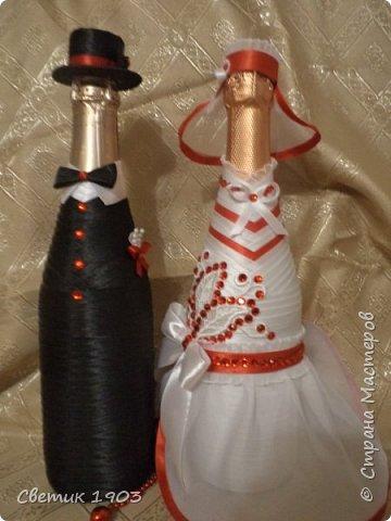 Сделаны еще два свадебных набора в красно-белом цвете.  Что-то у нас этот цвет  в этом году востребован молодыми парами для украшения свадеб.  фото 4