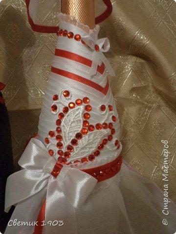 Сделаны еще два свадебных набора в красно-белом цвете.  Что-то у нас этот цвет  в этом году востребован молодыми парами для украшения свадеб.  фото 5