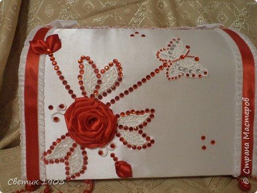 Сделаны еще два свадебных набора в красно-белом цвете.  Что-то у нас этот цвет  в этом году востребован молодыми парами для украшения свадеб.  фото 7