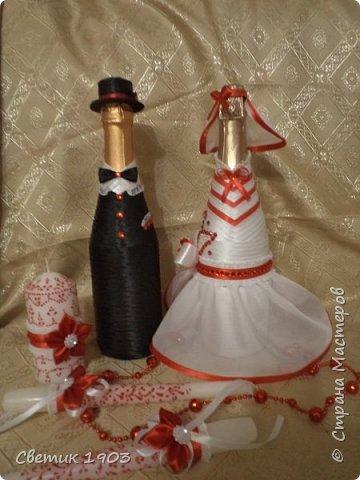 Сделаны еще два свадебных набора в красно-белом цвете.  Что-то у нас этот цвет  в этом году востребован молодыми парами для украшения свадеб.  фото 12