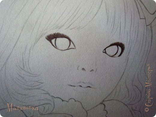 Добрый вечер!  Сегодня я покажу вам, как нарисовать Алису из сказки Льюиса Кэрролла. Нам нужны: простой карандаш, ластик, цветные карандаши (у меня 24 цвета), коричневая, черная и зеленая ручки, белый линер (белая ручка). Ну и, естественно, бумага, на которой вы будете рисовать... фото 42
