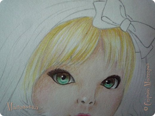 Добрый вечер!  Сегодня я покажу вам, как нарисовать Алису из сказки Льюиса Кэрролла. Нам нужны: простой карандаш, ластик, цветные карандаши (у меня 24 цвета), коричневая, черная и зеленая ручки, белый линер (белая ручка). Ну и, естественно, бумага, на которой вы будете рисовать... фото 53