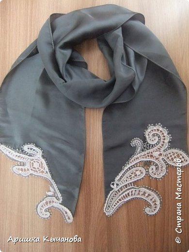Вот такой шарф с кружевными вставками я сделала для своей любимой мамы! фото 3