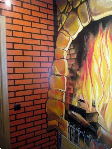 Не прошло и года, как я добралась до этих фото)  Роспись стены. Вся работа выполнена вручную кистями без применения аэрографа. фото 5