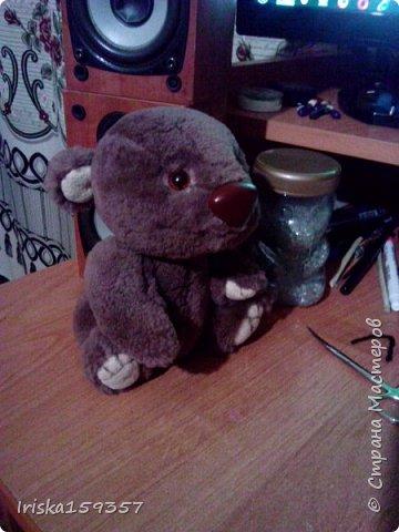 Загорелась я как-то идеей сшить тедди, первый мой медведь (фото далее) получился корявенький, но миленький. И тут бабушка моего мужа отдала мне лоскутки (теперь их мне несут все родственники, друзья и просто знакомые), а в них мааааленький кусочек плюша, подобрала под него выкройку и вот, представляю, мини-Мишка на шплинтах, глазки стеклянные, утяжелен стеклянным гранулятом. фото 6
