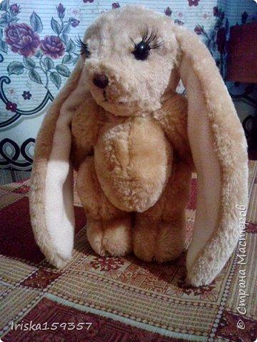 Загорелась я как-то идеей сшить тедди, первый мой медведь (фото далее) получился корявенький, но миленький. И тут бабушка моего мужа отдала мне лоскутки (теперь их мне несут все родственники, друзья и просто знакомые), а в них мааааленький кусочек плюша, подобрала под него выкройку и вот, представляю, мини-Мишка на шплинтах, глазки стеклянные, утяжелен стеклянным гранулятом. фото 5