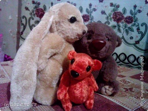 Загорелась я как-то идеей сшить тедди, первый мой медведь (фото далее) получился корявенький, но миленький. И тут бабушка моего мужа отдала мне лоскутки (теперь их мне несут все родственники, друзья и просто знакомые), а в них мааааленький кусочек плюша, подобрала под него выкройку и вот, представляю, мини-Мишка на шплинтах, глазки стеклянные, утяжелен стеклянным гранулятом. фото 7