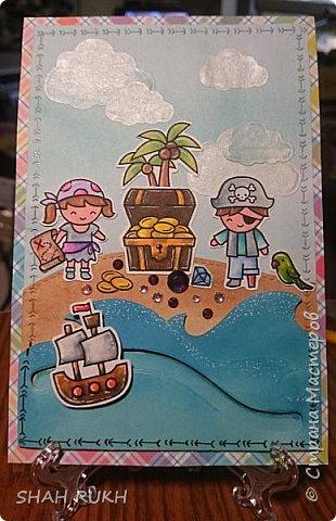 """Всем приветик и мира в Ваши дома! Сегодня я хочу представить вам новую открытку """"Клад""""... Вдохновение пришло после просмотра МК на Ютубе... Ссылку на источник будет ниже. Итак, кораблик """"плавает""""...""""брильянты"""" сверкают! фото 5"""