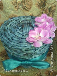 Шкатулка для мелочей. Бумага газетная, спица 1,5, колер синий, лак, ленточка голубая и цветы для украшения...