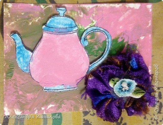 Первая проба в энкаустике. Цветы из ткани, сделаны саморучно. фото 2