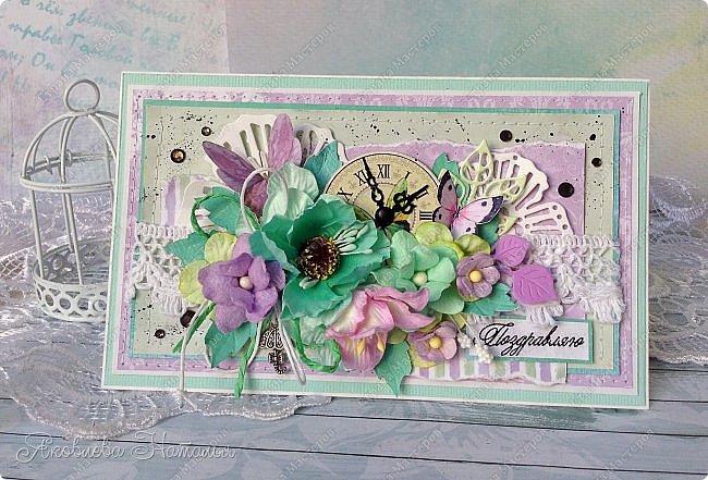 Приветствую всех, кого заинтересовали мои открыточки. Решила показать ещё две цветочных, которые я делала в рамках одного из совместных проектов.  Первая - в мятно-сиреневых тонах. Одна из моих любимых цветовых гамм. фото 1