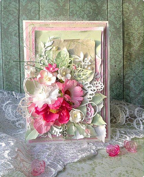 Приветствую всех, кого заинтересовали мои открыточки. Решила показать ещё две цветочных, которые я делала в рамках одного из совместных проектов.  Первая - в мятно-сиреневых тонах. Одна из моих любимых цветовых гамм. фото 5