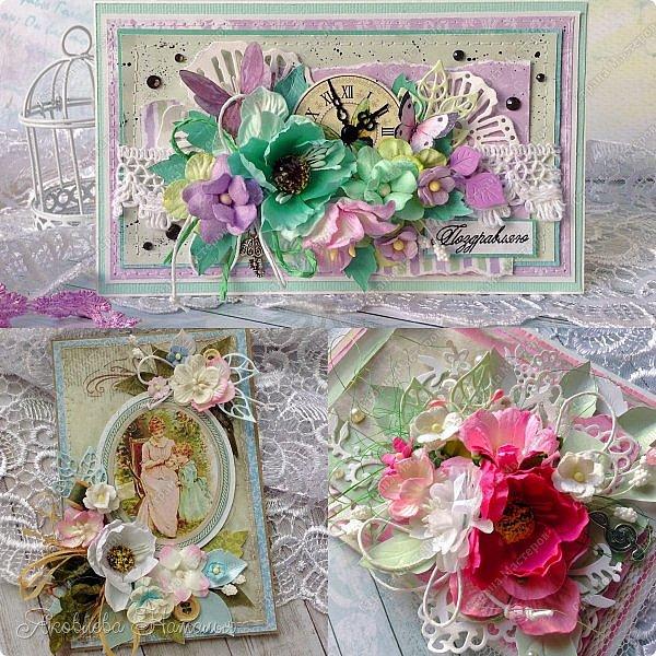 Приветствую всех, кого заинтересовали мои открыточки. Решила показать ещё две цветочных, которые я делала в рамках одного из совместных проектов.  Первая - в мятно-сиреневых тонах. Одна из моих любимых цветовых гамм. фото 7