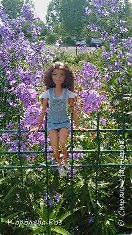 Здравствуй, Страна Мастеров! Недавно у меня появилась новая кукла, которую я назвала Диана. Решив, что ей нужен новый наряд, я сшила для неё джинсовый сарафан и белую трикотажную футболку. На следующий день мы отправились на фотосессию на улицу. На этом фото Диана у розовых цветов. фото 2