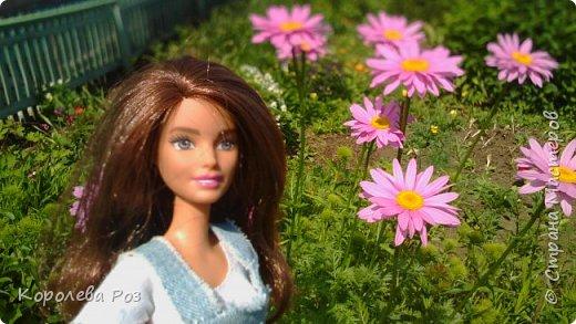 Здравствуй, Страна Мастеров! Недавно у меня появилась новая кукла, которую я назвала Диана. Решив, что ей нужен новый наряд, я сшила для неё джинсовый сарафан и белую трикотажную футболку. На следующий день мы отправились на фотосессию на улицу. На этом фото Диана у розовых цветов. фото 1