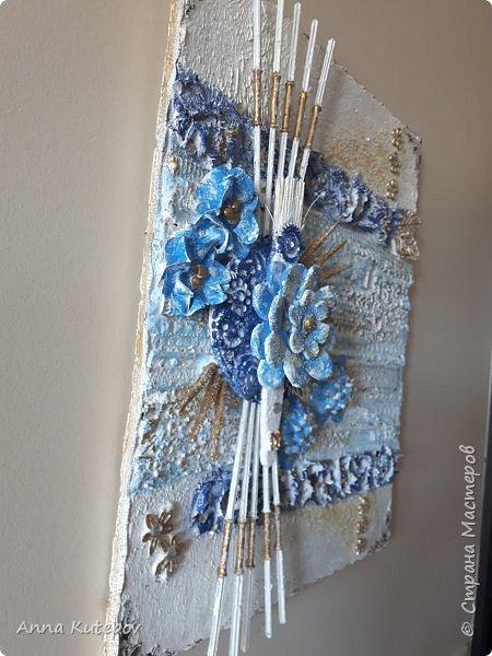 """""""Голубой цветок"""". Панно. фото 3"""