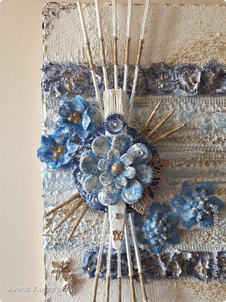 """""""Голубой цветок"""". Панно. фото 5"""
