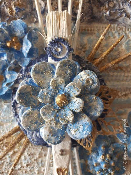 """""""Голубой цветок"""". Панно. фото 6"""
