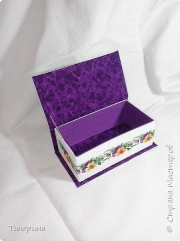 Шкатулка фиолетовая с анютиными глазками фото 2