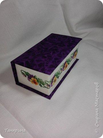 Шкатулка фиолетовая с анютиными глазками фото 1