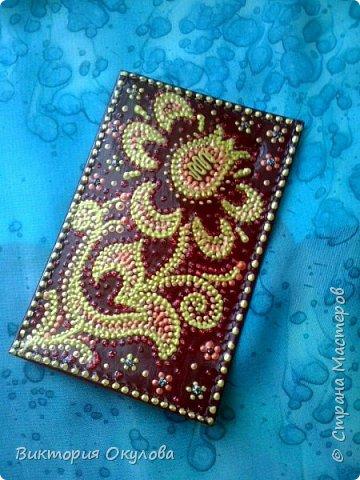 Обложки для паспорта (Натуральная кожа,точечная роспись акриловыми контурами,глянцевый лак для кожи) фото 9