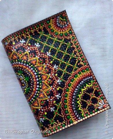 Обложки для паспорта (Натуральная кожа,точечная роспись акриловыми контурами,глянцевый лак для кожи) фото 10