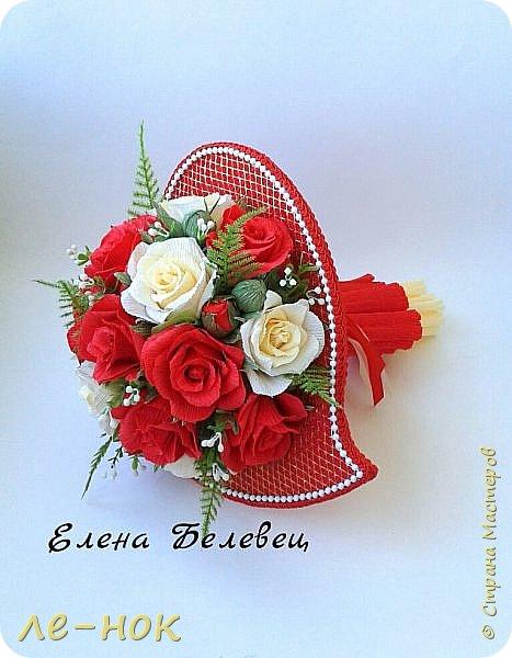 Всем здравствуйте:-)  Букет и корзинка на свадьбу,которая будет оформлена в бело-красных тонах  фото 4