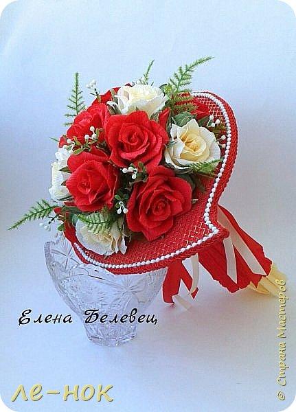 Всем здравствуйте:-)  Букет и корзинка на свадьбу,которая будет оформлена в бело-красных тонах  фото 1