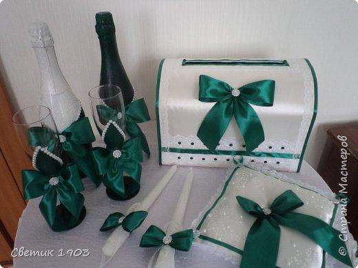 """Здравствуйте, дорогие друзья!  Сделала я еще один свадебный набор в очень красивом, насыщенном цвете """"изумруд"""", который будет украшать 20.07. свадебный стол. Смотрится набор очень красиво, самой очень понравился, решила показать и Вам этот интересный набор.  Всем отличного настроения, любви и здоровья!  Будьте счастливы!  фото 2"""