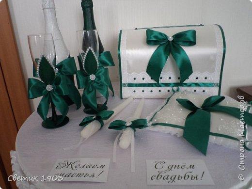 """Здравствуйте, дорогие друзья!  Сделала я еще один свадебный набор в очень красивом, насыщенном цвете """"изумруд"""", который будет украшать 20.07. свадебный стол. Смотрится набор очень красиво, самой очень понравился, решила показать и Вам этот интересный набор.  Всем отличного настроения, любви и здоровья!  Будьте счастливы!  фото 1"""