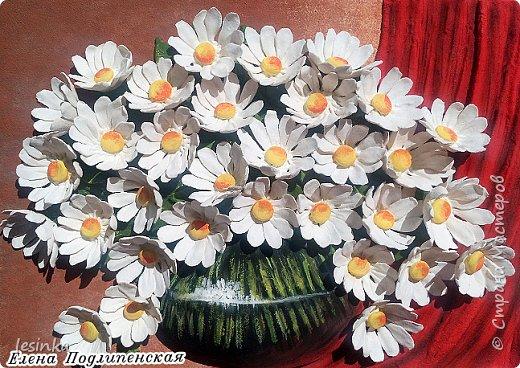 Всем доброго и хорошоего дня! Сегодня я к вам с ромашками и летом в вазочке. Работа А4 выполнена из соленого теста и расписана гуашью.  фото 3