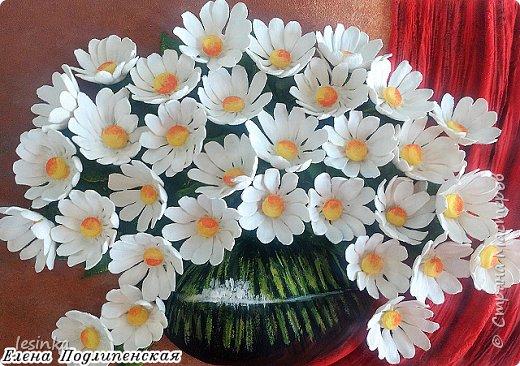 Всем доброго и хорошоего дня! Сегодня я к вам с ромашками и летом в вазочке. Работа А4 выполнена из соленого теста и расписана гуашью.  фото 1