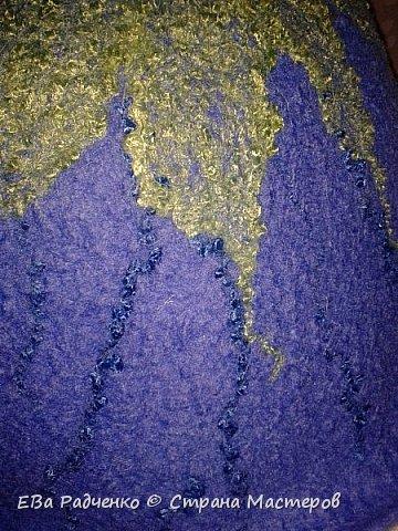 """Шапочка для парилки сваляна из натуральной овечьей шерсти.  Для украшения использована техника """"шерстяная акварель"""".  Получился индивидуальный ,неповторимый и креативный подарок на День Рождения для любительницы парилки! фото 4"""