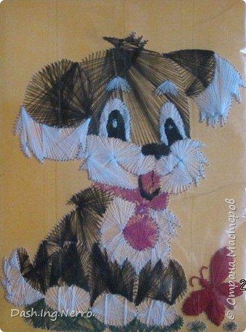 """""""Собачка играет с бабочкой"""". Изонить. Вышивка цветными нитями на картоне. По мотивам картины в технике изонить с изображением собачки. Я нашла её в Интернете. Мне до того понравилась эта прелестная собачка, что я очень захотела вышить для моей бабушки в подарок такую же картину с этой собачкой. С отличиями от оригинала. Моя бабочка красного цвета, а на оригинальной картине бабочка вышита голубыми и синими нитями. Я вышивала эту собачку летом в июне 2012 года. В этом году летом 2017 года я её поменяла.    фото 2"""