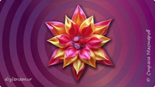 Делаем яркий цветок канзаши с двойным лепестком из атласной ленты. Видео мастер-класс