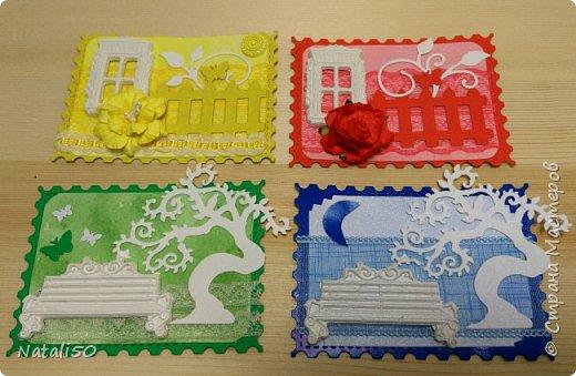 """Доброго всем вечера!! Карточка моя по игре""""Радуга"""" http://stranamasterov.ru/node/1102022 Добралась до адресата,так что можно поделиться этой серией. Использовала фигурки из глины,вырубка,цветочки,кружево.  фото 1"""