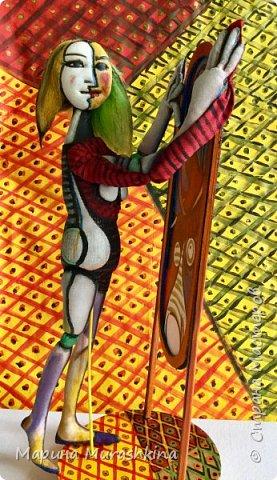 Текстильная кукла 'Девушка перед зеркалом' сшита по одноименной картине Пикассо. Попробовала сшить вот такой арт)) фото 1